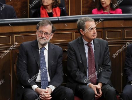Former Spanish Prime Minister Mariano Rajoy (L) and Jose Luis Rodriguez Zapatero (R) attend a commemorative event on the occasion of the 40th anniversary of the Spanish Constitution at the Lower House in Madrid, Spain, 06 December 2018.