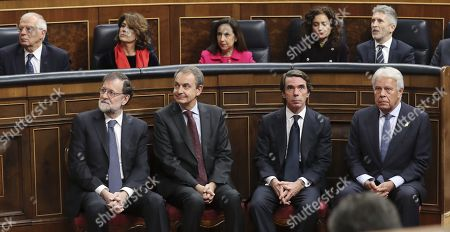 Former Spanish Prime Ministers (L-R) Mariano Rajoy, Jose Luis Rodriguez Zapatero, Jose Maria Aznar and Felipe Gonzalez look on during a commemorative event on the occasion of the 40th anniversary of the Spanish Constitution at the Lower House in Madrid, Spain, 06 December 2018.