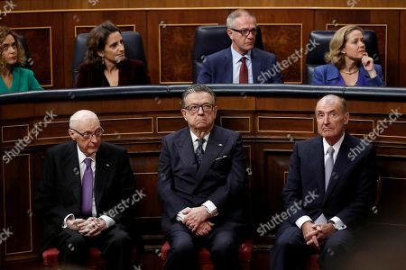 The three 'living fathers' of the Spanish 1978 Constitution (L-R) Jose Pedro Perez-Llorca, Miguel Herrero y Rodriguez de Minon and Miquel Roca attend a commemorative event on the occasion of the 40th anniversary of the Spanish Constitution at the Lower House in Madrid, Spain, 06 December 2018.