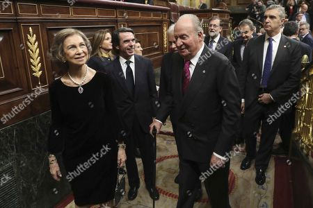 Spanish emeritus King Juan Carlos I (2-R) and emeritus Queen Sofia (L) leave the Chamber followed by former Spanish Prime Ministers Jose Maria Aznar (C), Mariano Rajoy (3-R) and Jose Luis Rodriguez Zapatero after attending a commemorative event on the occasion of the 40th anniversary of the Spanish Constitution at the Parliament's Lower House in Madrid, Spain, 06 December 2018.