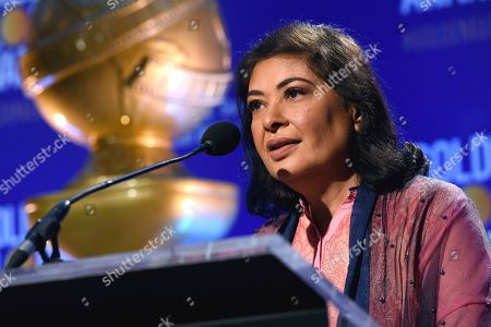 HFPA President Meher Tatna speaks prior to the announcement of the nominations for the 76th Annual Golden Globe Awards at the Beverly Hilton hotel, in Beverly Hills, Calif. The 76th annual Golden Globe Awards will be held on Sunday, Jan. 6, 2019