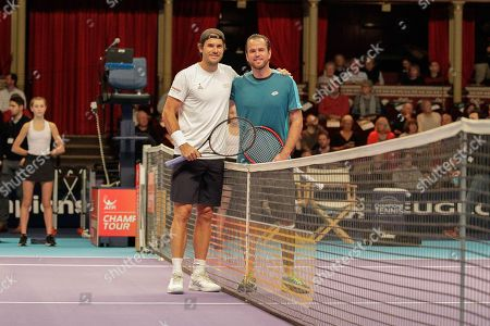 Xavier Malisse and Tommy Haas before the Champions Tennis match at the Royal Albert Hall, London. Picture by Ian Stephen
