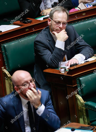 Belgian Prime Minister Charles Michel (L) and New Flemish Alliance (N-VA) head of group Peter De Roover (R) during a plenary session in Brussels, Belgium, 06 December 2018. Reports state that the Belgian Parliament has to vote on the UN migration pact during the session on 06 December 2018.