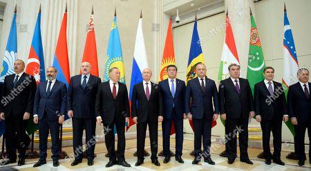 (L-R) Azerbaijan President Ilham Aliyev, Armenia's acting Prime Minister Nikol Pashinyan, Belarus' President Alexander Lukashenko, Kazakh President Nursultan Nazarbayev, Russian President Vladimir Putin, Kyrgyzstan's President Sooronbay Jeenbekov, Moldovan President Igor Dodon, Tajikistan's President Emomali Rakhmon, Turkmenistan President Gurbanguly Berdymukhamedov, and Uzbek President Shavkat Mirziyoyev pose for a family picture before a meeting of heads of the Commonwealth of Independent States (CIS) in Saint Petersburg, Russia, 06 December 2018.
