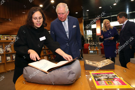 Stock Picture of Prince Charles looking at archive material of actor Peter Sellers during an official visit to BFI Southbank