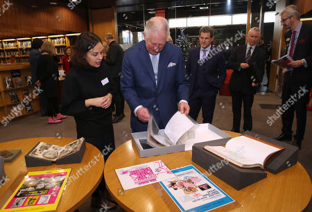 Prince Charles looking at archive material of actor Peter Sellers during an official visit to BFI Southbank