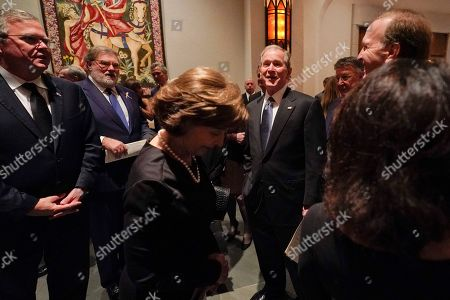 Former US President George W. Bush, former First Lady Laura Bush, front, Former Florida Governor Jeb Bush, left, and Neil Bush, right after a funeral service for former US President George H.W. Bush at St. Martin?s Episcopal Church in Houston, Texas, USA, 06 December 2018. Bush died at the age of 94 on 30 November 2018 at his home in Texas. George H.W. Bush was the 41st President of the United States (1989-1993).