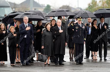 Former US President George W. Bush, Laura Bush and other family members arrives for a departure ceremony as the flag-draped casket of former US President George H.W. Bush is carried by a joint services military honor guard in Spring, Texas, USA, 06 December 2018 to the train. Bush died at the age of 94 on 30 November 2018 at his home in Texas. George H.W. Bush was the 41st President of the United States (1989-1993).