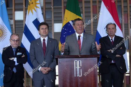 (L-R) Mercosur's Foreign Ministers: Argentinian Jorge Faurie, Paraguay's Luis Alberto Castiglioni, Uruguay's Rodolfo Nin Novoa and Brazil's Aloysio Nunes Ferreira attend a press conference after the MERCOSUR Trade Bloc meeting in Brasilia, Brazil, 06 December 2018.  The Mercosur meeting was to analyze negotiations for an agreement with the European Union.