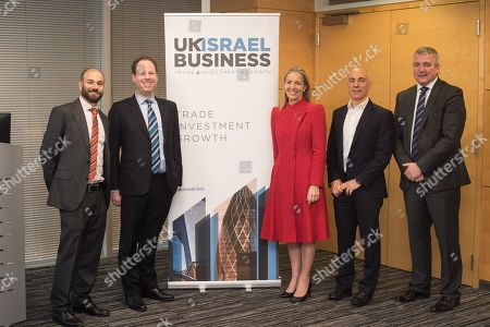 Lee Noyek, Hugo Bieber, Baroness Rona Fairhead CBE, Leon Blitz and Andy Mallin, CBO at Bank Leumi UK at Allen and Overy