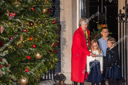 The Christmas Switch.Downing Street Christmas Tree Lights Switch On Stock Photos
