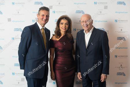 David Ereira, Carol Sopher and Sir Trevor Chinn, all Life Presidents of Norwood.