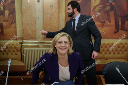 Stock Image of European Commissioner for Regional Policy Corina Cretu speaks during her audition at the Portuguese Parliament Commission for European Matters in Lisbon, Portugal, 06 December 2018.