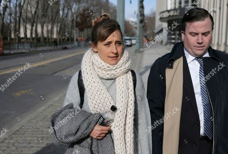 Television actress Allison Mack leaves federal court in New York, . Court papers say a trust funded by Seagram's liquor fortune heiress Clare Bronfman is bankrolling the defense for her co-defendants in the sex-trafficking prosecution. They include the leader of the secretive upstate New York group NXIVM, Keith Raniere, and Mack. All the defendants have pleaded not guilty to charges alleging that followers of the group were coerced into becoming sex slaves who were branded with Raniere's initials