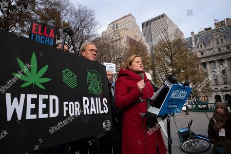 """Melissa Mark-Viverito, a candidate for New York City Public Advocate, speaks at a news conference, in New York. The former City Council speaker wants to use taxes from legal pot to pay for system repairs. Mark-Viverito announced her """"Weed for Rails"""" plan outside the City Hall subway station Thursday"""