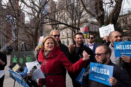 """Melissa Mark-Viverito, a candidate for New York City Public Advocate, speaks at a news conference, in New York. The former City Council speaker wants to use taxes from legal pot to pay for subway system repairs. Mark-Viverito announced her """"Weed for Rails"""" plan outside the City Hall subway station Thursday"""