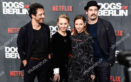 Fahri Yardim, Anna Maria Muehe, Katharina Schuettler and Felix Kramer pose at the world premiere of 'Dogs of Berlin' in Berlin, Germany, 06 December 2018. The first season of the television series is released on Netflix from 13 October on.