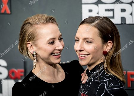 Anna Maria Muehe (L) and Katharina Schuettler pose at the world premiere of 'Dogs of Berlin' in Berlin, Germany, 06 December 2018. The first season of the television series is released on Netflix from 13 October on.