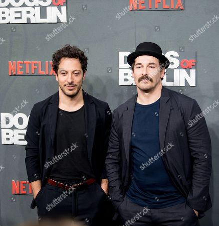 Fahri Yardim (L) and Felix Kramer (R) pose at the world premiere of 'Dogs of Berlin' in Berlin, Germany, 06 December 2018. The first season of the television series is released on Netflix from 13 October on.