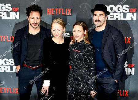Fahri Yardim, Anna Maria Muehe, Katharina Schuettler and Felix Kramer pose at the world premiere of 'Dogs of Berlin' in Berlin, Germany, 06 December 2018. The first season of the television series is released on Netflix from 07 December on.