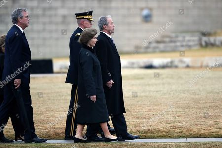 Former President George W. Bush and former first lady Laura Bush follow the casket of former President George H.W. Bush at the George H.W. Bush Presidential Library and Museum in College Station, Texas, USA, 06 December 2018. Bush died at the age of 94 on 30 November 2018 at his home in Texas. George H.W. Bush was the 41st President of the United States (1989-1993).