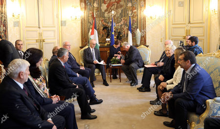 Stock Picture of Palestinian Prime Minister Rami Hamdallah and French Senate President Gerard Larcher