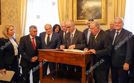 Stock Photo of Palestinian Prime Minister Rami Hamdallah and French Senate President Gerard Larcher