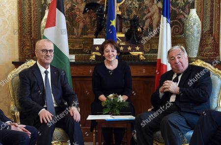 Palestinian Prime Minister Rami Hamdallah and French Senate President Gerard Larcher