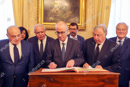 Stock Image of Palestinian Prime Minister Rami Hamdallah and French Senate President Gerard Larcher