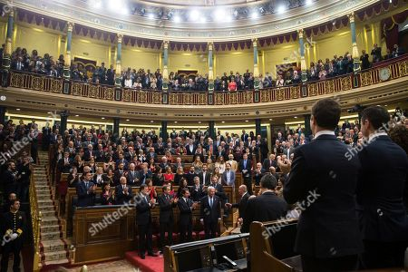 Juan Carlos, Former Queen Sofia, Mariano Rajoy, Jose Luis Rodriguez Zapatero, Felipe Gonzalez, Jose Maria Aznar and Pedro Sanchez