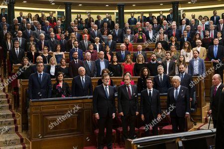 Juan Carlos, Mariano Rajoy, Jose Luis Rodriguez Zapatero, Felipe Gonzalez, Jose Maria Aznar and Pedro Sanchez