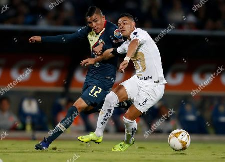 Claudia Sheinbaum. America's Luis Reyes, left, and Pumas' Pablo Barrera fight for the ball during a Mexico soccer league first leg semifinals match in Mexico City