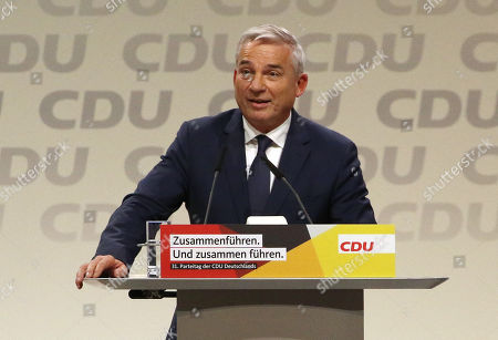 The candidate for the post of the deputy party chairman, Thomas Strobl, speaks at the  31st Party Congress of the Christian Democratic Union (CDU) in Hamburg, Germany, 07 December 2018. The party's General-Secretary Annegret Kramp-Karrenbauer during the congress has been elected new CDU chairwoman. Associated with her election was a debate over the fundamental political orientation of the CDU after Chancellor Merkel will no longer hold this office.