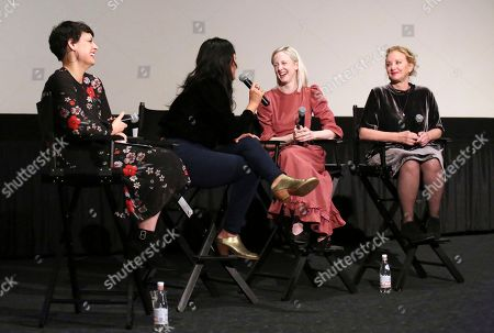 """Stacey Wilson Hunt, Christina Choe, Andrea Riseborough, J. Smith-Cameron. Stacey Wilson Hunt, director Christina Choe, Andrea Riseborough and J. Smith-Cameron seen at the special screening and Q&A of """"Nancy"""" at the ArcLight Hollywood, in Los Angeles"""