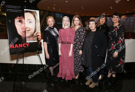 """J. Smith-Cameron, Andrea Riseborough, Amy Adams, Arianne Phillips, Christina Choe, Stacey Wilson Hunt. J. Smith-Cameron, Andrea Riseborough, Amy Adams, Arianne Phillips, director Christina Choe and Stacey Wilson Hunt seen at the special screening and Q&A of """"Nancy"""" at the ArcLight Hollywood, in Los Angeles"""