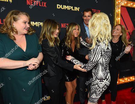 Stock Image of Danielle Macdonald, Kristin Hahn, Jennifer Aniston, Scott Stuber, Dolly Parton, Anne Fletcher
