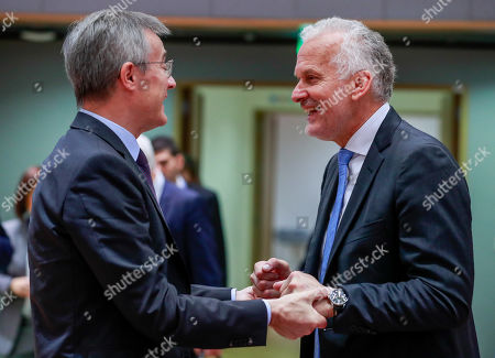 luxembourg's Minister of Justice Felix Braz (L) and Austrian Justice Minister Josef Moser at the start of a Justice and Home Affairs Council (Justice) at the European Council in Brussels, Belgium, 07 December 2018.