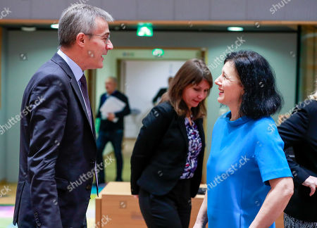 luxembourg's Minister of Justice Felix Braz (L) and EU Commissioner in charge of justice, consumers and gender equality Vera Jourova at the start of a Justice and Home Affairs Council (Justice) at the European Council in Brussels, Belgium, 07 December 2018.