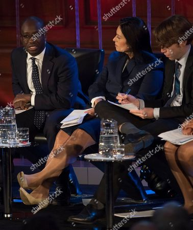 Priti Patel Mp (centre) Sits On The Panel At The Spectator Event 'what Is The Future Of The Tory Party?' At The Emmanuel Centre London. The Panel Are From Left: Sam Gyimah Mp Priti Patel Mp James Forsyth Political Editor The Spectator Suella Fernandes Mp And Anthony Seldon Political Historian.