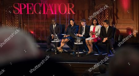 Priti Patel Mp (2nd Left) Sits On The Panel At The Spectator Event 'what Is The Future Of The Tory Party?' At The Emmanuel Centre London. The Panel Are From Left: Sam Gyimah Mp Priti Patel Mp James Forsyth Political Editor The Spectator Suella Fernandes Mp And Anthony Seldon Political Historian.