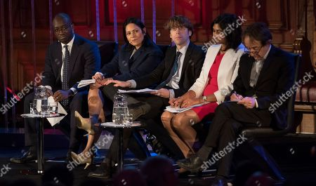 Stock Picture of Priti Patel Mp (2nd Left) Sits On The Panel At The Spectator Event 'what Is The Future Of The Tory Party?' At The Emmanuel Centre London. The Panel Are From Left: Sam Gyimah Mp Priti Patel Mp James Forsyth Political Editor The Spectator Suella Fernandes Mp And Anthony Seldon Political Historian.