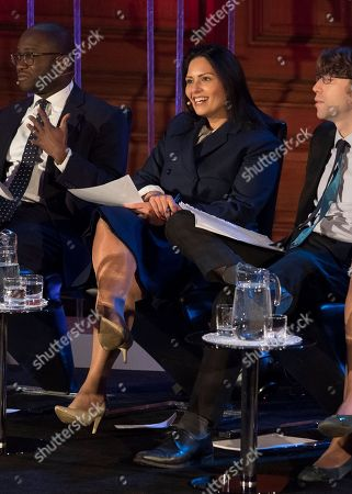 Priti Patel Mp Sits On The Panel At The Spectator Event 'what Is The Future Of The Tory Party?' At The Emmanuel Centre London. The Panel Are From Left: Sam Gyimah Mp Priti Patel Mp James Forsyth Political Editor The Spectator Suella Fernandes Mp And Anthony Seldon Political Historian.