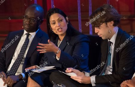 Editorial image of Priti Patel Mp (centre) Sits On The Panel At The Spectator Event 'what Is The Future Of The Tory Party?' At The Emmanuel Centre London. The Panel Are From Left: Sam Gyimah Mp Priti Patel Mp James Forsyth Political Editor The Spectator Suella Fernan