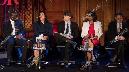 Editorial picture of Priti Patel Mp (2nd Left) Sits On The Panel At The Spectator Event 'what Is The Future Of The Tory Party?' At The Emmanuel Centre London. The Panel Are From Left: Sam Gyimah Mp Priti Patel Mp James Forsyth Political Editor The Spectator Suella Fern
