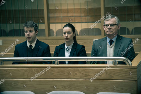 Stock Image of Martin Clunes as DCI Colin Sutton, Katie Lyons as DS Jo Brunt and Stephen Wright as DC Clive Grace.