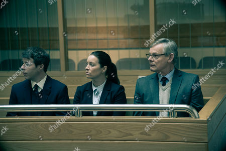 Stock Photo of Martin Clunes as DCI Colin Sutton, Katie Lyons as DS Jo Brunt and Stephen Wright as DC Clive Grace.