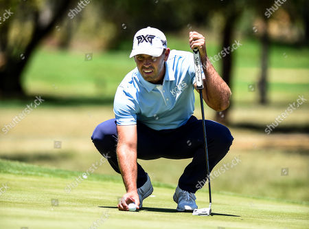 Charl Schwartzel of South Africa lines up a putt during the South African Open Golf Championship at the Randpark Golf Club in Johannesburg, South Africa, 07 December 2018.