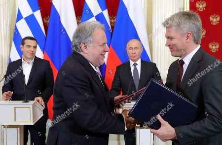 (L-R) Greek Prime Minister Alexis Tsipras, Greek Alternate Foreign Minister Georgios Katrougalos, Russian President Vladimir Putin and Russian Minister of Sport Pavel Kolobkov attend a signing ceremony following Russian-Greek talks in the Kremlin in Moscow, Russia, 07 December 2018. Alexis Tsipras is on a working visit in Russia.