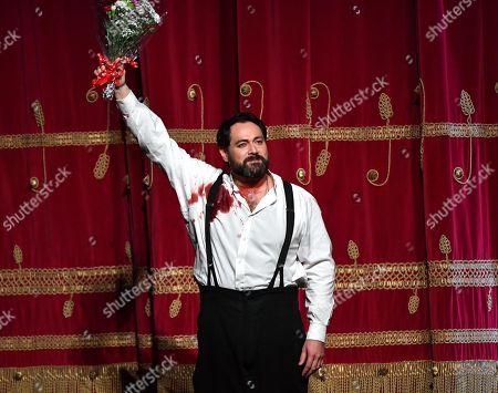 Russian bass Ildar Abdrazakov acknowledges the applause of the audience at the end of La Scala opera house's gala season opener, Giuseppe Verdi's opera 'Attila,' at the Teatro alla Scala in Milan, Italy, 07 December 2018.