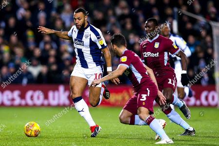 Matt Phillips of West Bromwich Albion takes on Neil Taylor of Aston Villa